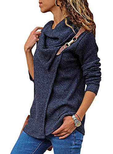 Women's Turtleneck Sweater Cowl Neck Chunky Knit Loose Button Wrap Long Sleeve Pullover Sweatshirt Tops Coat Solid Blue XXL 18 20