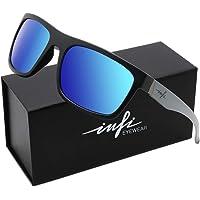 Polarized Sunglasses Mens Fishing Driving Running Retro Mirrored Sport Glasses XL HD Nylon Lens UV Protectiont Matte Black