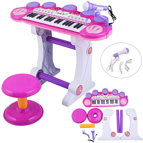 O.B Toys&Gift Musical Instrument Piano Toy 37-Key Kids Electronic Keyboard Organ w/ Stool , Microphone , Record & Playback Custom - Electronic Piano Toy for Kids & Toddler (Pink)