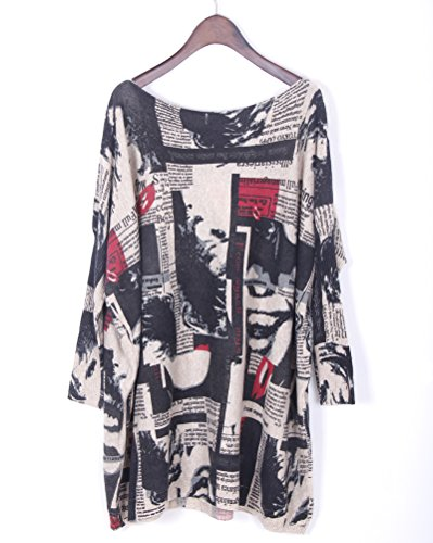 Ru Imprim Femme Manches Pull Xiang Longues Col Rond Large Sweater 6wqfdZH