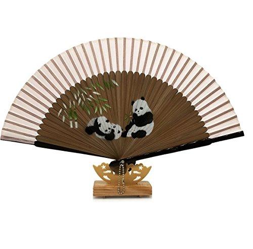 Beige 50Pcs/Lot Chinese Style Brown Bamboo Silk Hand Fan Pattern Wedding Elegant Fan by Hand Fan