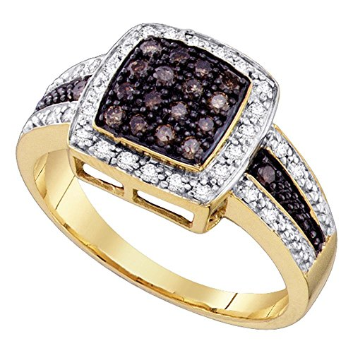 Sonia Jewels Size 7-10k Yellow Gold Round Chocolate Brown Diamond Square Cluster Ring (1/2 Cttw)