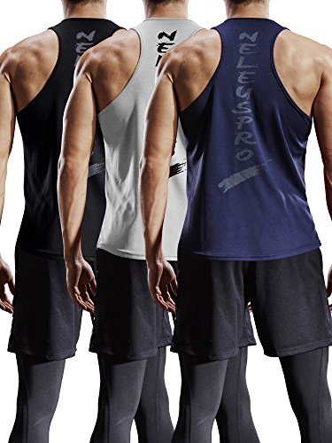 Neleus Men's 3 Pack Mesh Workout Muscle Tank Top,5007,Black,Grey,Navy Blue,US L,EU XL