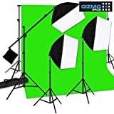 Digital Photo Video Continuous 3x Softbox Complete Studio Light (3 Point Cinematic Lighting Kit: KEY Light+FILL Light+HAIR Light), Boom arm, 3x Backdrops (Green, White, Black 8x12F Screen) w Heavy Duty Background stand, 8 & 14 Feet Light Stand [ GizmoGrid ]
