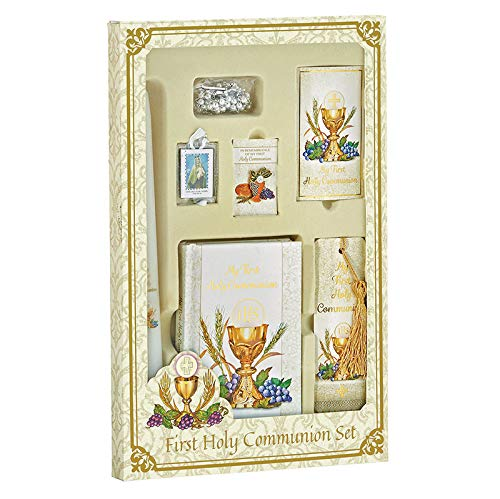 CB Catholic Girl Bread of Life First Communion Boxed Gift Set (Includes Mass Book, Rosary, Holy Card, Tassel Bookmark, Scapular,Lapel pin and Candle) ()