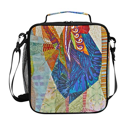 Awesome Rooster Chicken Pattern Lunch Bag with Zip Closure Insulated Lunch Box Tote Bag For Kids,Adults,School,Office