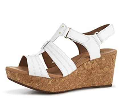 0ded4f1b871 Clarks Annadel Orchid Cushion Soft Wedge Sandal Wide Fit - White - UK 7