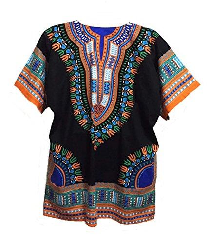 Vipada Handmade Men Dashiki Shirt African Caftan Black with Orange XXXXL by Vipada Handmade (Image #1)