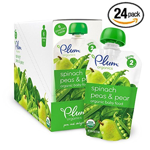 Plum Organics Second Blends, Spinach Peas and Pear, 4.0 Ounce (Pack of 24) (Pea Pear Spinach Value Pack 24 Pouches) by Plum Organics