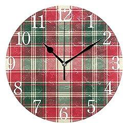 SUABO Wall Clock Arabic Numerals Design Pixel Plaid Texture Round Wall Clock for Living Room Bathroom Home Decorative