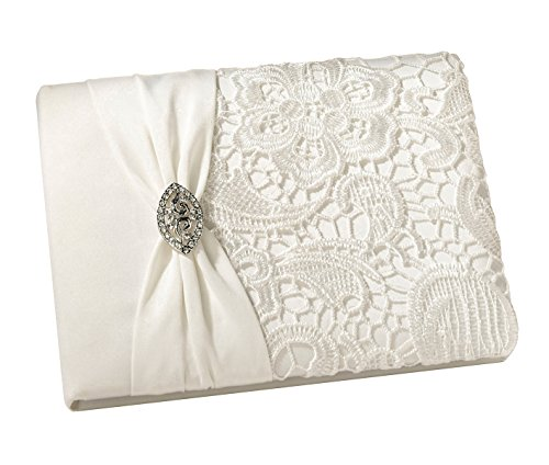 Lillian Rose Vintage Lace Guest Book - Cream (Lace Wedding Guest Book)
