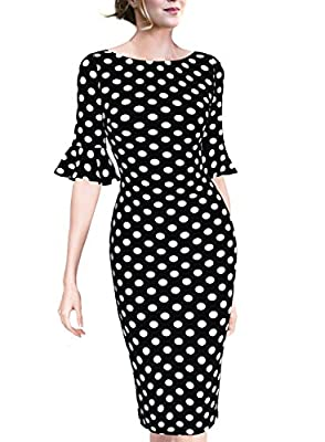VfEmage Women Elegant Flare Sleeve Polka Dot Vintage Work Bodycon Dress