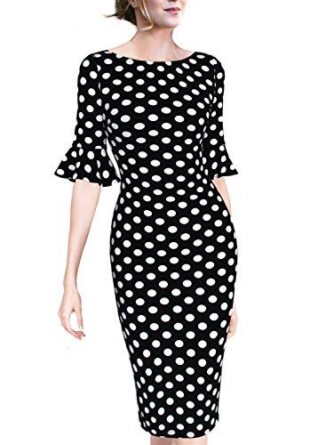 VfEmage Women Elegant Flare Sleeve Polka Dot Vintage Work Bodycon Dress