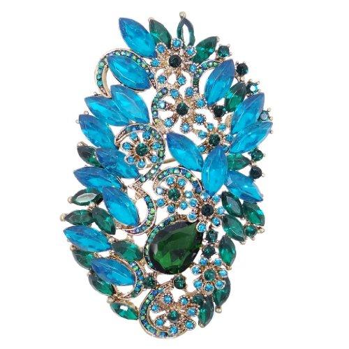 Ever Faith - Plaqué Or Fleur Goutte Broche Pendentif Bleu Cristal Autrichien N02507-6