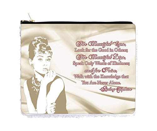 (Audrey Hepburn Makeup Quote in Vintage Style Satin Print - 2 Sided 6.5