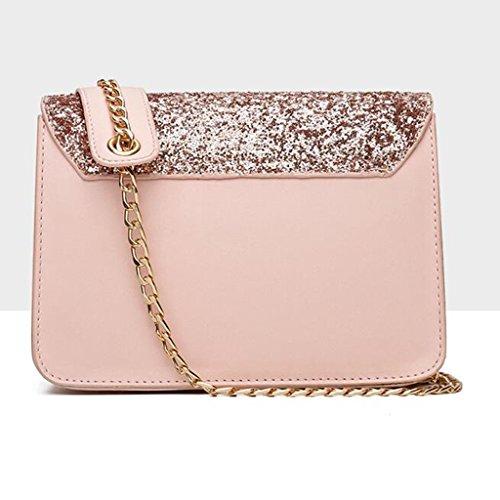 Donna Con Da Liu Pink 9 Paillettes Moda Quadrata Catena colore dimensioni Piccola 20 Elegante 15cm Messenger Borsa A Tracolla Pink Selvaggia XIwXrt