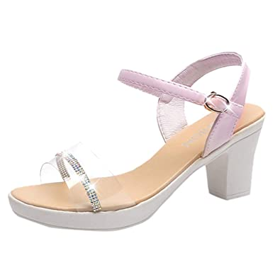 ef3459d940e HHei K Women Sequins Thick Heel Sandals Antiskid High Heel Shoes Fish Mouth  Crystal Buckle Strap Casual