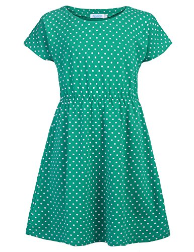 Arshiner Kids Girls Dress Small Polka Dots Summer Short Sleeve Casual Style Size 3-10 by Arshiner