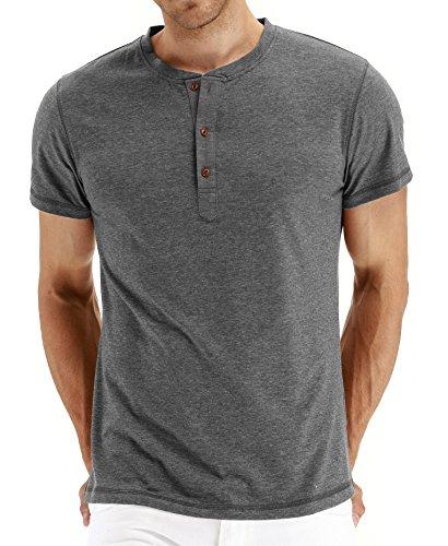 (NITAGUT Mens Fashion Casual Front Placket Basic Short Sleeve Henley T-Shirts (S, 02 Dark Gray))