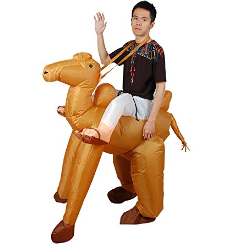 Adult Inflatable Animal Party Costume Suit Ride On Me Fancy Dress Jumpsuit (Camel)