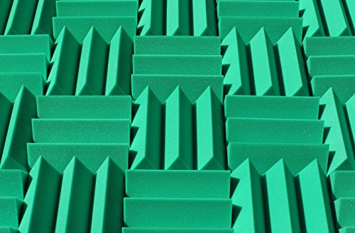 Wedge Kelly Green - Soundproofing Acoustic Studio Foam - Kelly Green Color - Wedge Style Panels 12in x 12in x 4 Inch Thick Tiles