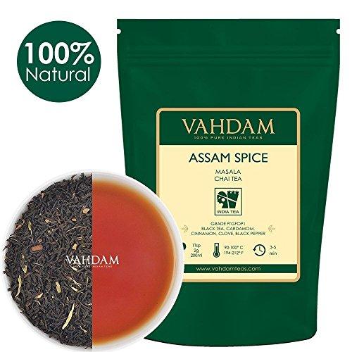 VAHDAM, Assam Spiced Masala Chai Tea (50 Cups) | 100% NATURAL SPICES | Assam Tea, Cardamom, Cinnamon, Clove, Black Pepper | Spiced Chai Tea Loose Leaf | Brew Hot Tea, ()