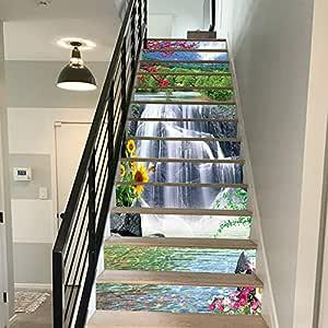 FLFK 3D Cascada flores paisaje auto-adhesivos Pegatinas de Escalera pared pintura vinilo Escalera calcomanía Decoración 39.3 pulgadas x7.08 pulgadas X 13Piezas: Amazon.es: Bricolaje y herramientas