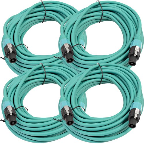 Seismic Audio TW12S50Green-4Pack Four Pack of 12 Gauge 50-Feet Green Speakon to Speakon Speaker Cable by Seismic Audio