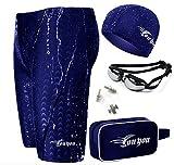 Vocni Men's Swimsuit Swim Goggles Swim Cap Ear Plugs Nose Clip Imitation Sharkskin Jammer Swimming set, Blue, X-Large(Fit Waist 35-38'')-Tag 3XL