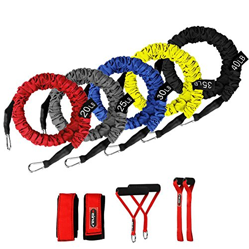 Resistance Bands, 11 Pieces Exercise Elastic Bands Set, 20lbs to 40lbs Resistance Tubes with Heavy Duty Protective Nylon Sleeves Anti-Snap for Fitness-5 Bands Door Anchors Ankle Strap Handles Bag