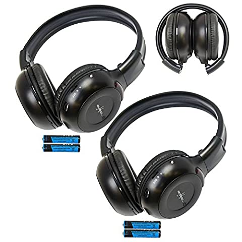 Pair of Two Channel Folding Adjustable Universal Entertainment System Infrared Headphones 2 Additional 48