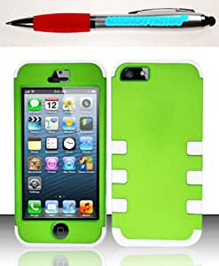 Accessory Factory(TM) Bundle (the item, 2in1 Stylus Point Pen) For iPhone 5 (AT&T Sprint Verizon Cricket) FUSION Case Cover Protector PC TPU - Neon Green White FUS