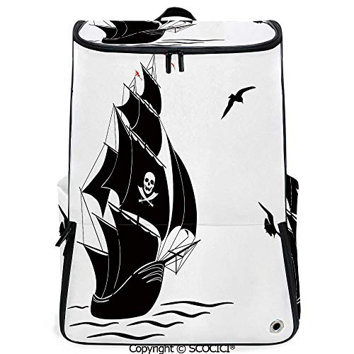 SCOCICI Large Casual Backpack,Silhouette of Old Sail Pirate Ship Flying Seagulls Ocean Waves Jolly Roger Decorative,Black White Red,Backpack with Shoes Compartment ()