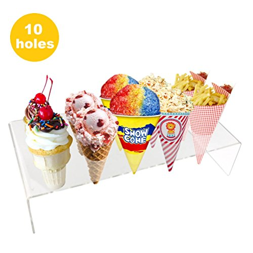 [Ice Cone Holder | Amazing Transparent Lightweight Portable 10 Hole Ice Cream Cone Stand Display | Safe Durable Washable Food Grade BPA-Free Acrylic Material | 573.3] (Halloween Decor Gets Too Real)