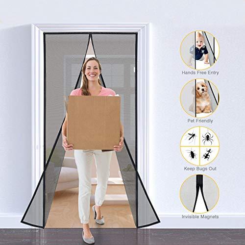 One Sight Magnetic Screen Door, Fiberglass Mesh Door Screens Curtain with Magnets Closure, Heavy Duty Sliding Door Patio Net Screen Fits 39''x82'' Door Keep Bug Fly Mosquito Out (Doors Patio Fly For Screens Sliding)