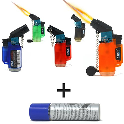 5Pack Angle Eagle Jet Flame Butane Torch Lighter Refillable Windproof+FREE Colibri butane by Eagle (Image #4)