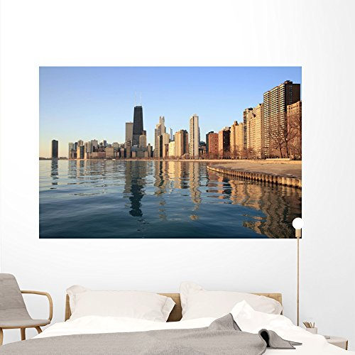 Chicago Skyline Dawn Wall Mural by Wallmonkeys Peel and Stick Graphic (72 in W x 47 in H) - Chicago Place Downtown Water Tower