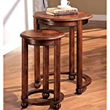 A Line Furniture Tanuge Design Wooden 2-piece Round Nesting Table Set