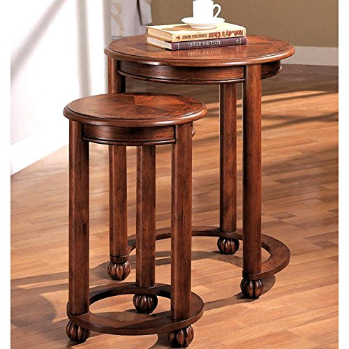 A Line Furniture Tanuge Design Wooden 2-piece Round Nesting Table Set by A Line Furniture