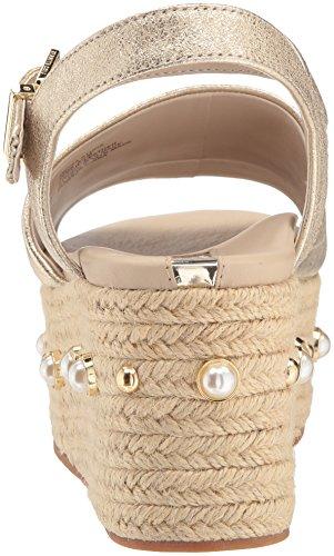 Kenneth Cole New York Women's Indra Studs Platform Espadrille Ankle Strap Heeled Sandal Soft Gold 7Dvj8m