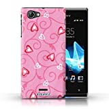 STUFF4 Phone Case / Cover for Sony Xperia J (ST26i) / Pink/Red Design / Heart/Vine Pattern Collection / by Deb Strain / Penny Lane Publishing, Inc.
