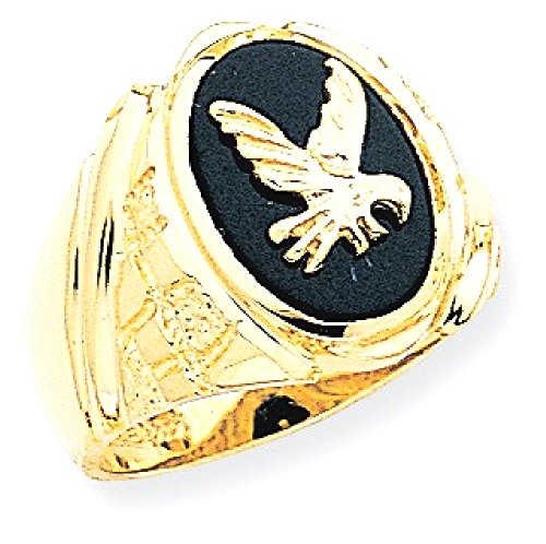 Gold Onyx Eagle Ladies Ring (ICE CARATS 14k Yellow Gold Mens Black Onyx Eagle Band Ring Size 10.00 Man Fine Jewelry Dad Mens Gift Set)