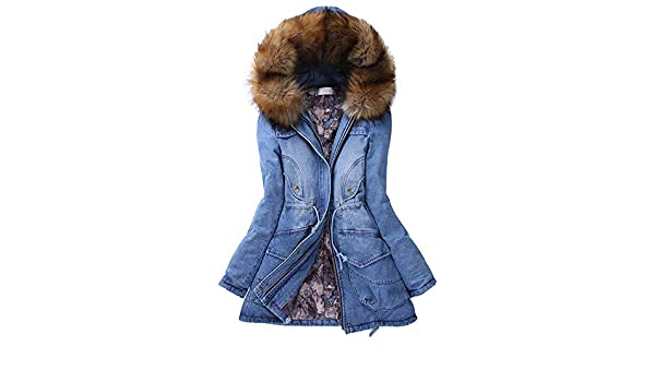 Amazon.com: Womens Coats Winter Besde Womens Fashion Casual Warm Lightweight Outwear Fur Collar Hooded Slim Long Warm Winter Jacket Jean Denim Coats: ...