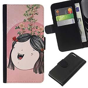 EJOY---La carpeta del tirón la caja de cuero de alta calidad de la PU Caso protector / Apple Iphone 5C / --Arte Peach Tree Abstract Niños Mamá Madre