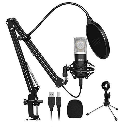 USB Microphone for Computer with 25mm Large Diaphragm,UHURU USB Microphone Kit 192kHZ/24bit Plug & Play PC Microphone Condenser Microphone for Recording Gaming Broadcasting YouTube(UM-925)