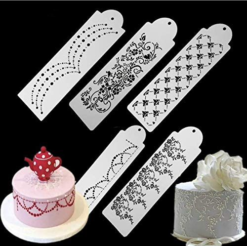 8-Pack Cake Decorating Stencil Molds, Magnoloran Wedding Cake Mesh Stencils Cake Templates Spray Floral Cake Side Molds, Wedding Cake Decorating Stencil Baking Tools, Dessert Decorating Molds