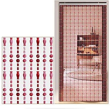 ビーズカーテンビーズドアストリングカーテンフリンジ家の装飾間仕切り用に防水、出入り口、2色(色:ピンク、サイズ:B-120x220CM)