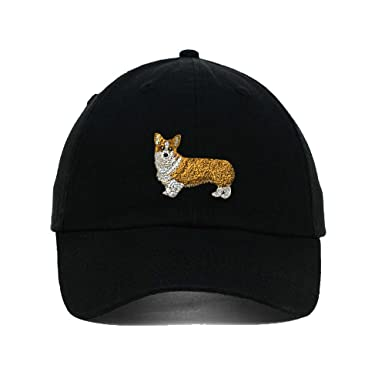 Amazon.com  Pembroke Welsh Corgi Embroidery Twill Cotton 6 Panel Low  Profile Hat Black  Clothing d3863a3eecc
