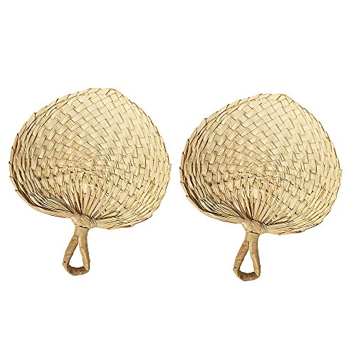 Sunny Hill Vietnam Hand Fan, 2 Pack Palm Leaf Manual Fan