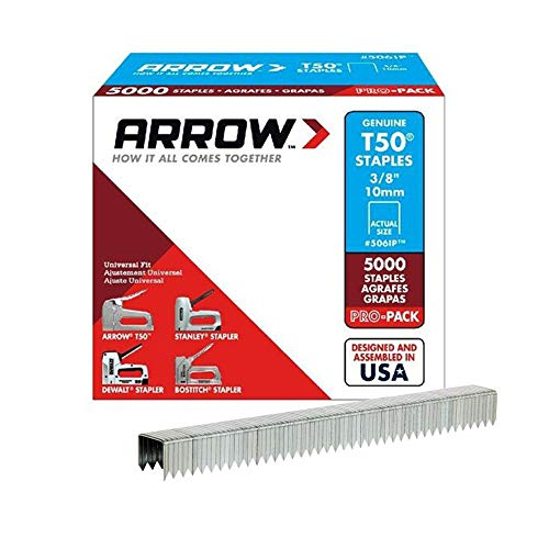 Arrow Fastener 506IP Genuine T50 3/8-Inch Staples, 5,000-Pack (Staple Gun Staples)